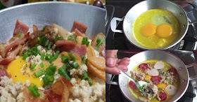 วิธีทำไข่กระทะ อาหารเช้าแบบเบาๆมีประโยชน์สำหรับทำกินในครอบครัว