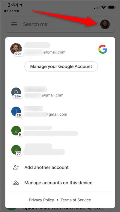 iPhone Gmail الحنفية الرمزية حساب الجلاد