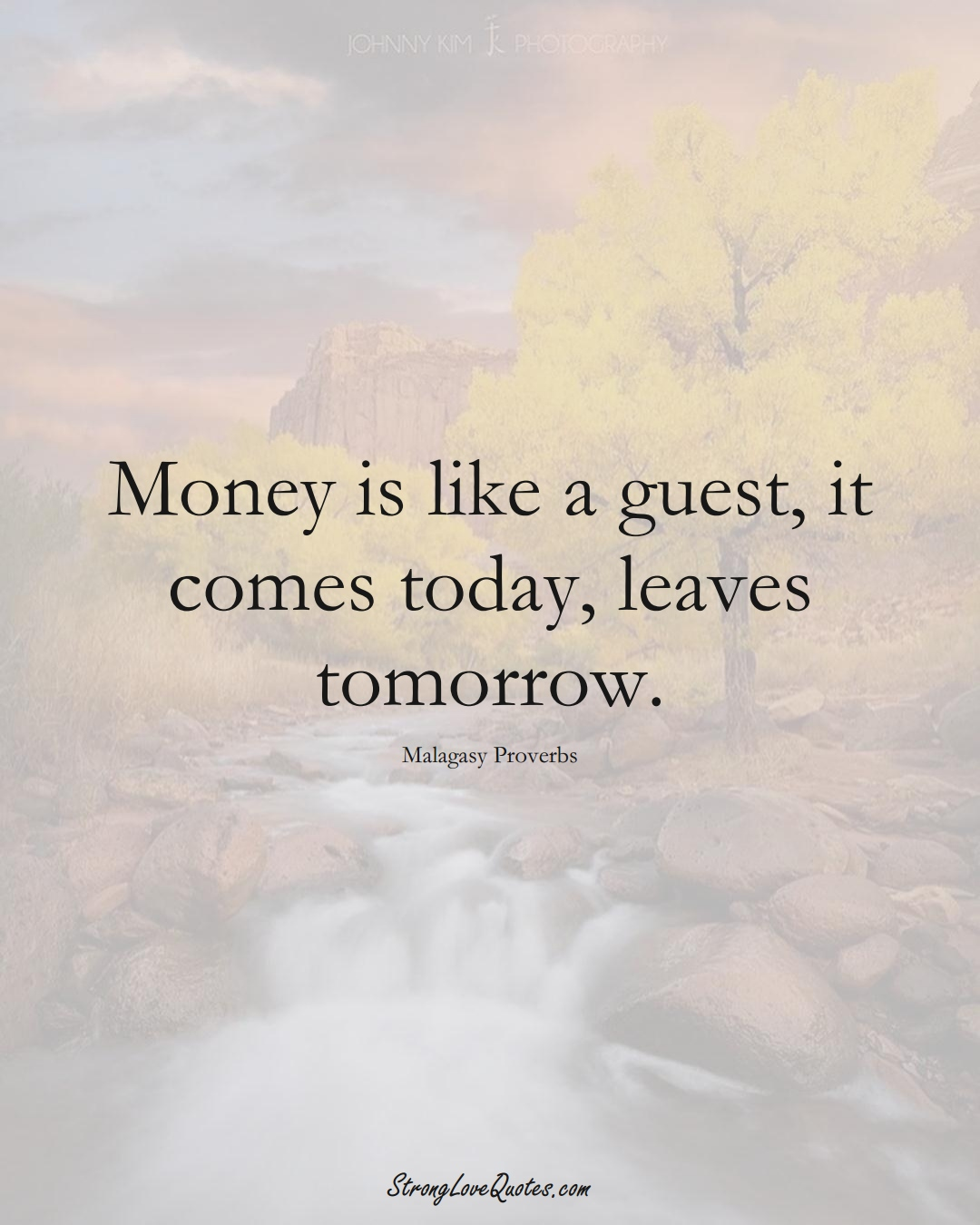 Money is like a guest, it comes today, leaves tomorrow. (Malagasy Sayings);  #AfricanSayings