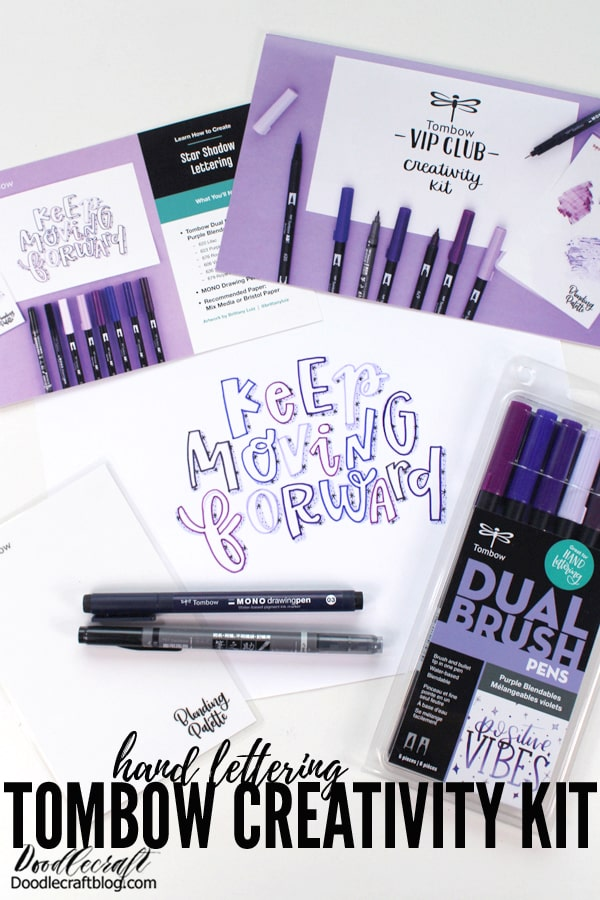 Tombow VIP Club Creativity Kit designed by Brittany Luiz of Tombow USA with star shadow lettering
