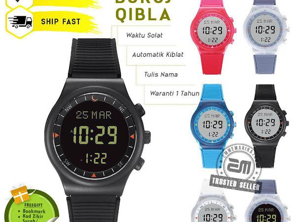 ( Buruj Qibla ) Jam Tangan Solat Digital dan Arah Kiblat