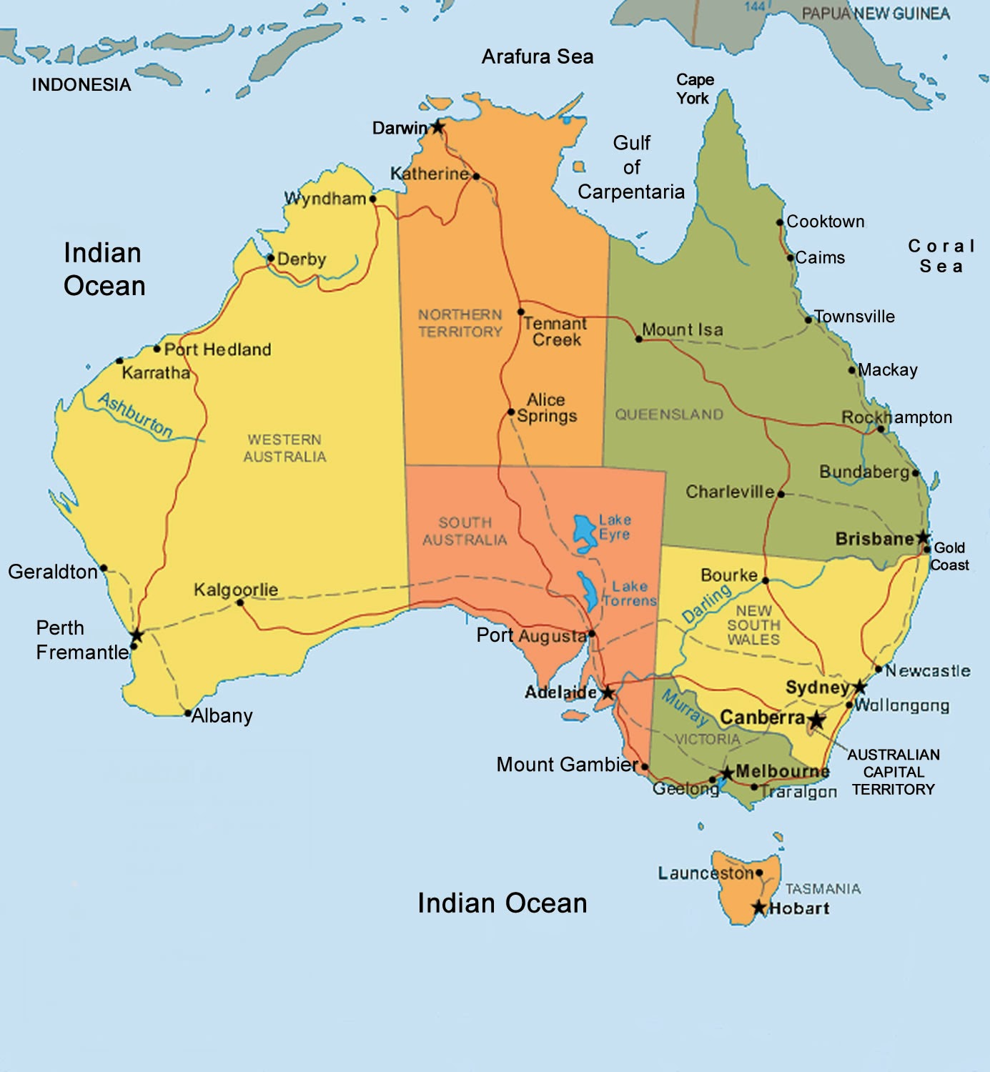 Australia Map Tropic Of Capricorn.High Riser Wide And Brown Land