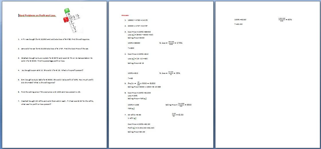 Printables Profit Loss Worksheet profit and loss worksheet davezan template