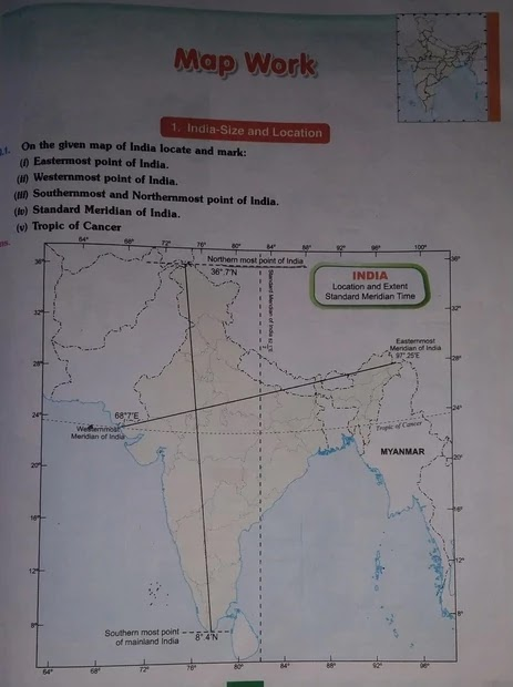 Important Map Work of India Size and Location chapter, class 9 cbse chapter India size and location map work, class 9 cbse chapter India size and location important Map items,Important Terms of Chapter India Size And Location,Most Important Questions of India Size And Location Chapter (NCERT) class 9,Extra Questions of Chapter India Size And Location class 9,India size and location class 9 notes questions answers, india size and location Class 9 notes, Important Map of class 9 sst, map work of class 9 geography chapter 1, Important Map Work of class 9 geography