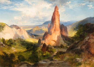art,painting,Thomas Moran,Glen Eyrie,Colorado,CO,red sandstone,red rock,classical realism,landscape,Echo Rock