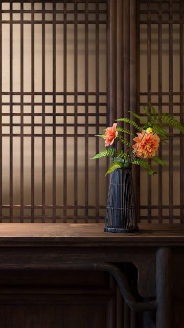 Wallpaper bouquet, rose flowers, vase