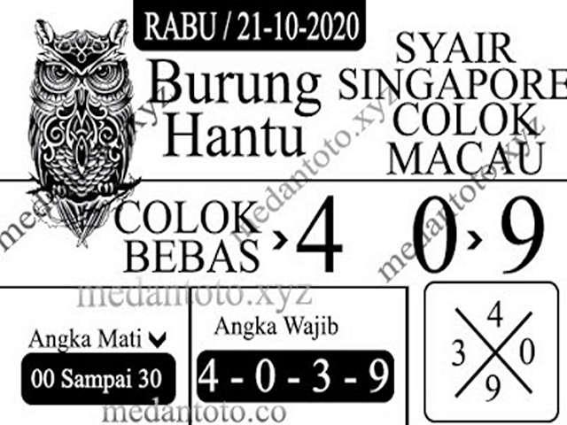 Kode syair Singapore Rabu 21 Oktober 2020 154