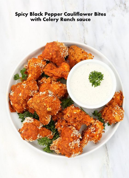 Spicy Baked Cauliflower Bites with Celery Ranch