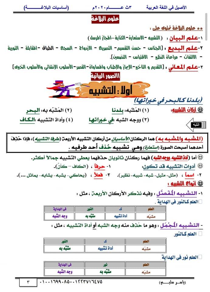 أساسيات البلاغة للثانوية العامة في١٥ورقة أ/ ياسر سليم 3