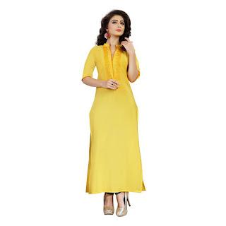Rs. 549 AE DIL HAIN MUSHKIL ZIYAA Yellow Kurti by FashionDiya