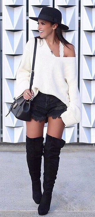 what to wear with over the knee boots: hat + one shoulder knit + bag + denim shorts