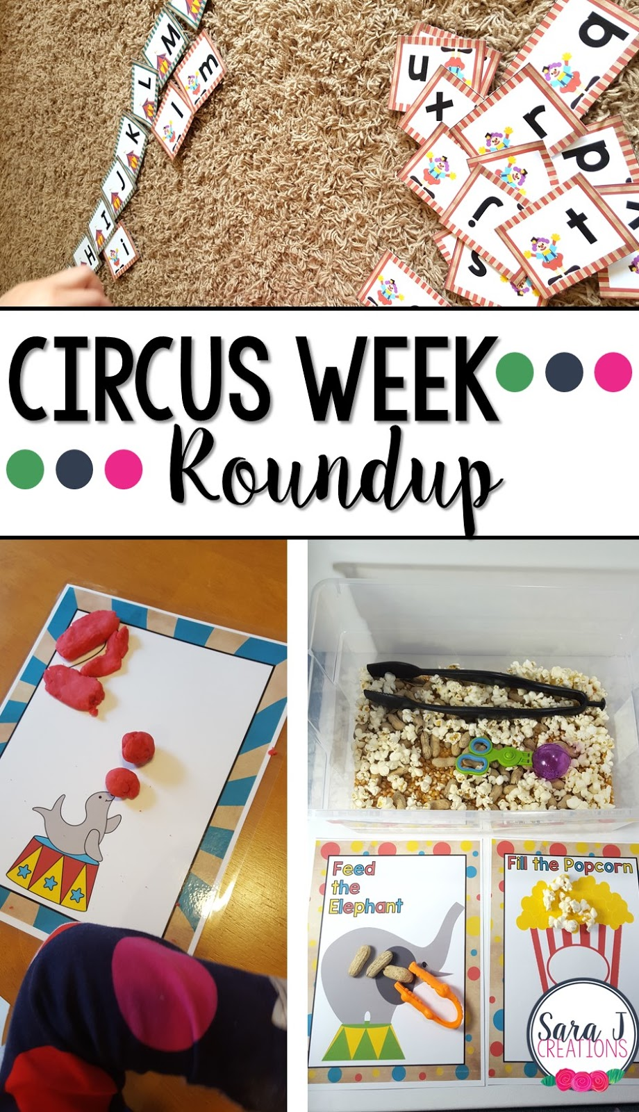 Books, fine motor, gross motor and alphabet practice ideas with a circus theme. Perfect for preschool!