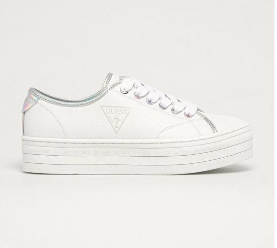 Guess Jeans - Pantofi sport albi cu talpa groasa moderni