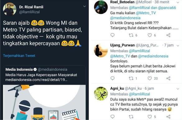 Metro TV Ditertawakan Rizal Ramli; Kalian Itu Paling Partizan, Tidak Objektif