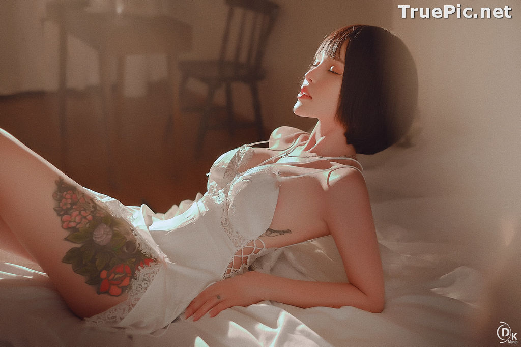 Image Vietnamese Model – Cute Short-haired Girl in White Sexy Sleepwear - TruePic.net - Picture-6
