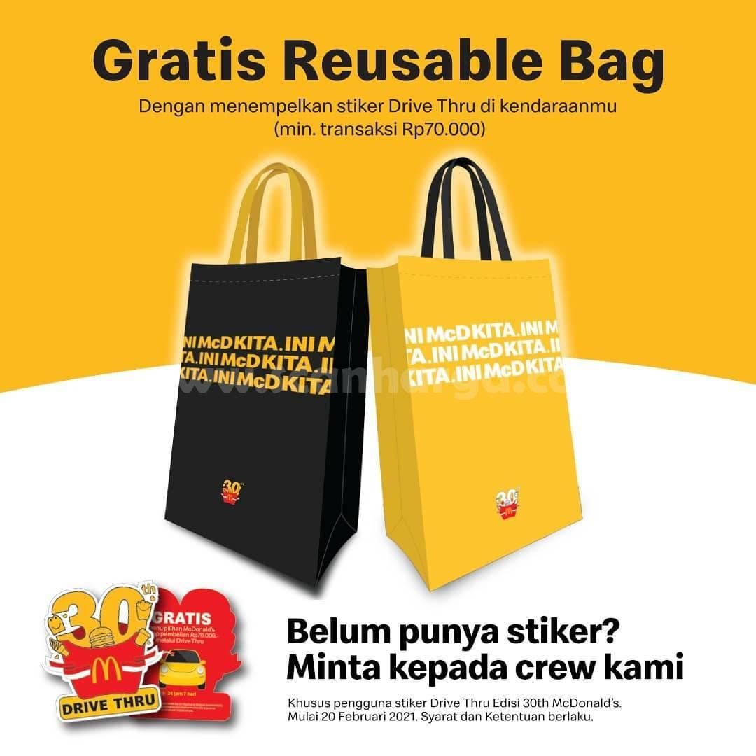 Promo McDonalds Terbaru! GRATIS Reusable Bag spesial Drive Thru Sticker