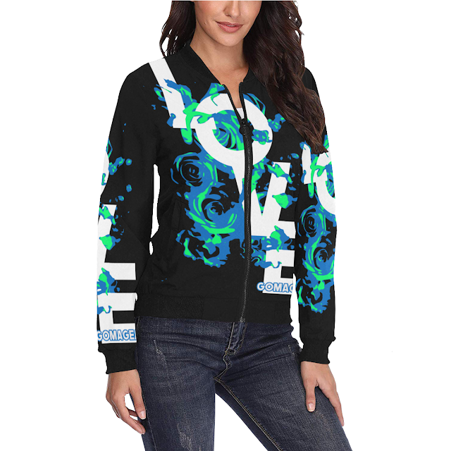 GOMAGEAR LOVE ROSES BOMBER JACKET - WOMEN