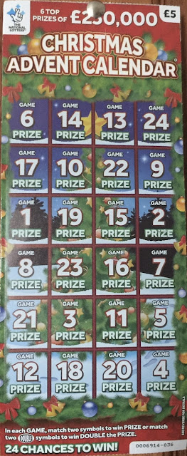 £5 National Lottery Advent Calendar Scratchcard 2019