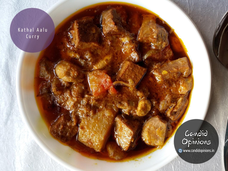 Kathal Aalu Curry (Panasa Alu Tarkari) Raw jackfruit curry