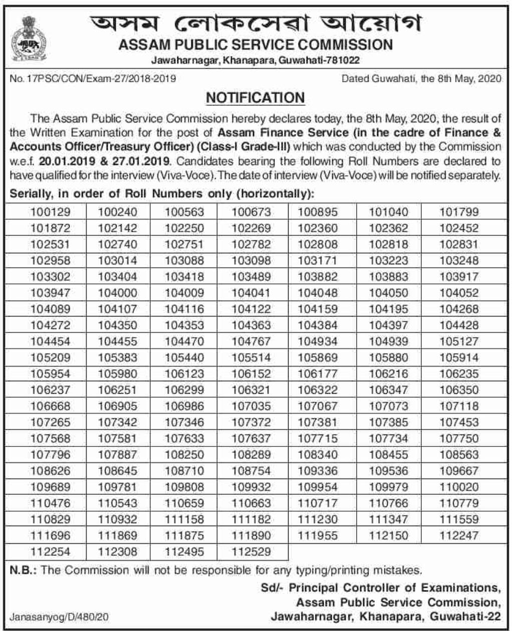 APSC Assam Finance Service Results 2020