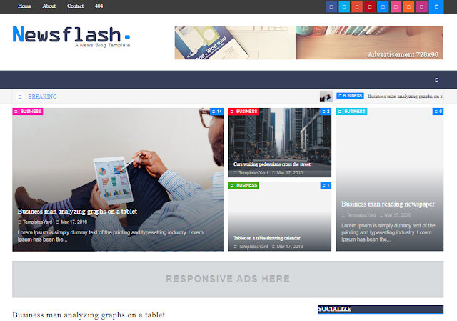 9.Newsflash premium blogger template free download
