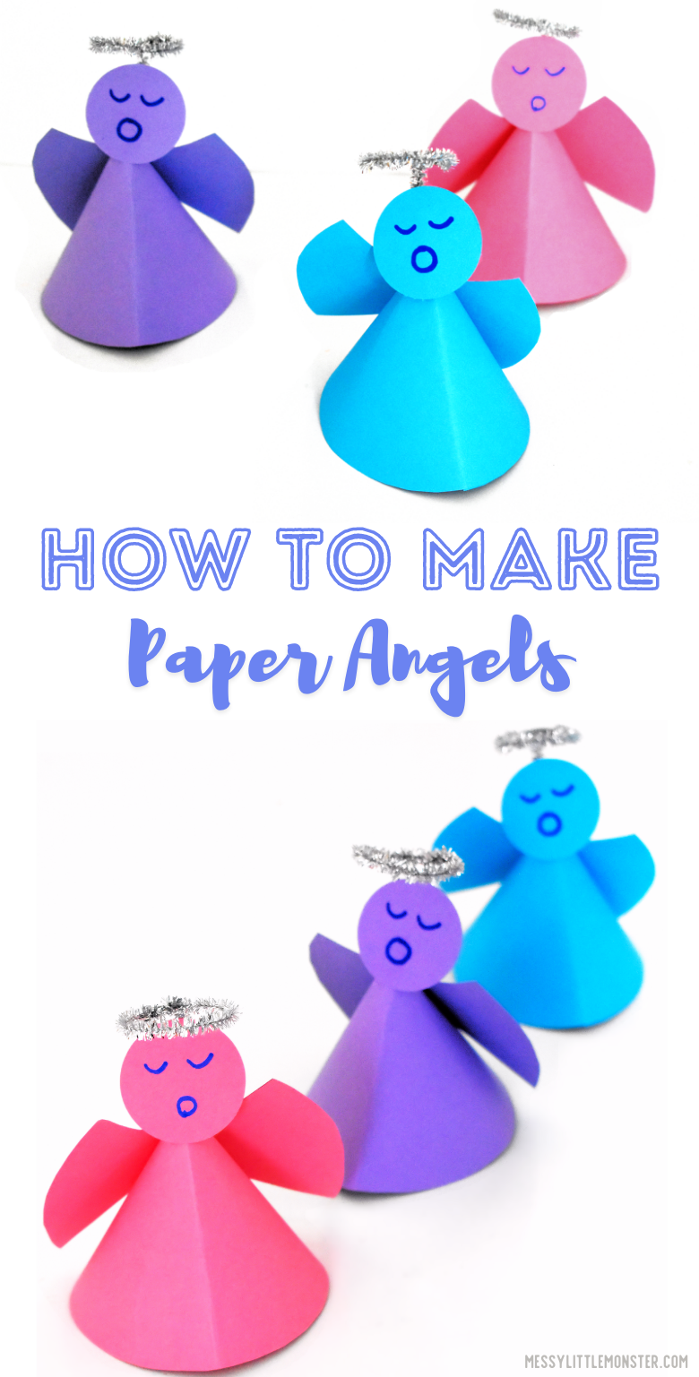 How to make paper angels. Easy paper angel craft for kids with paper angel template.