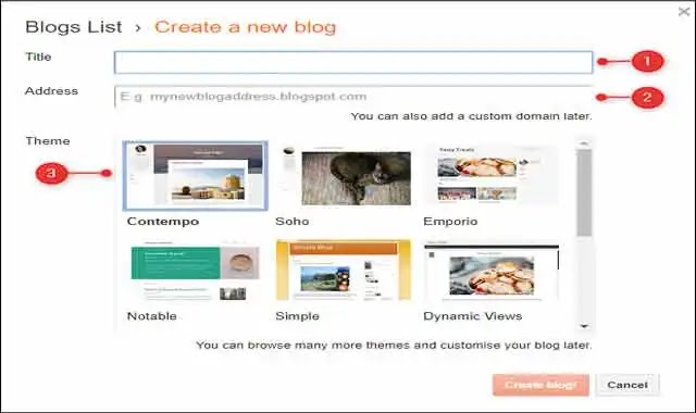 كيفية انشاء مدونه