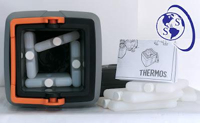 paquetes frios marca thermos originales parte interna termo kst para vacunas gris tapa negra asa anaranjada color plomo logo salud y superacion eirl