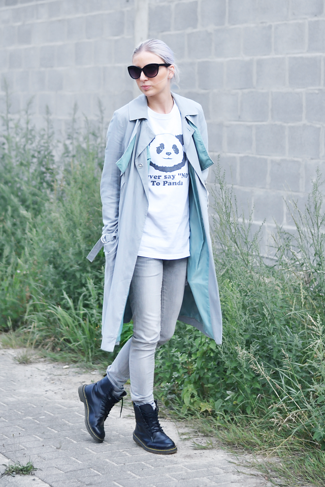 ootd, outfit, asos trench coat, mac, grey, vista print, panda t-shirt, mango grey jeans, skinny, combat boots, dr martens, ebay, summer 2015, street style