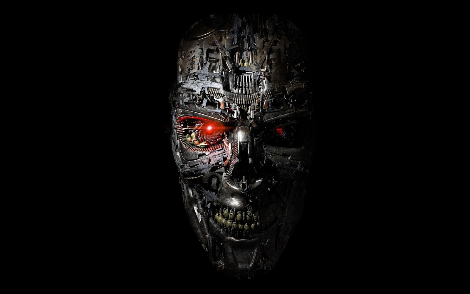 terminator : genesis, terminator: genisys, fiction, terminator, skull, creative, weapon, machines, guns, grenade, cartridges, black background