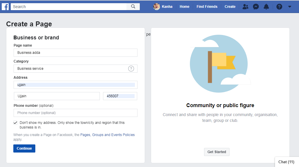adding information to facebook business page
