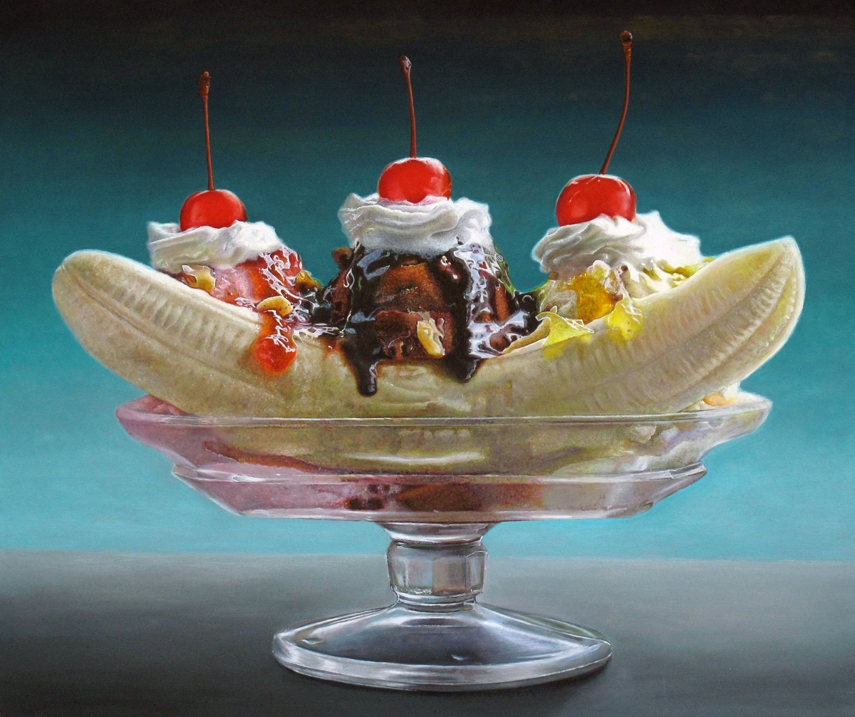 01-Banana-Split-Mary-Ellen-Johnson-A-Sweet-Tooth-s-Dream-in-Food-Art-Paintings-www-designstack-co