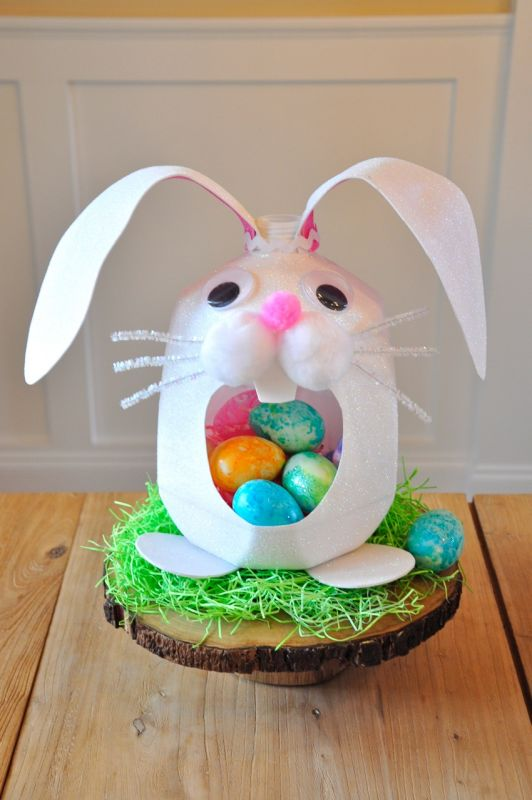 Easter basket made from a milk jug