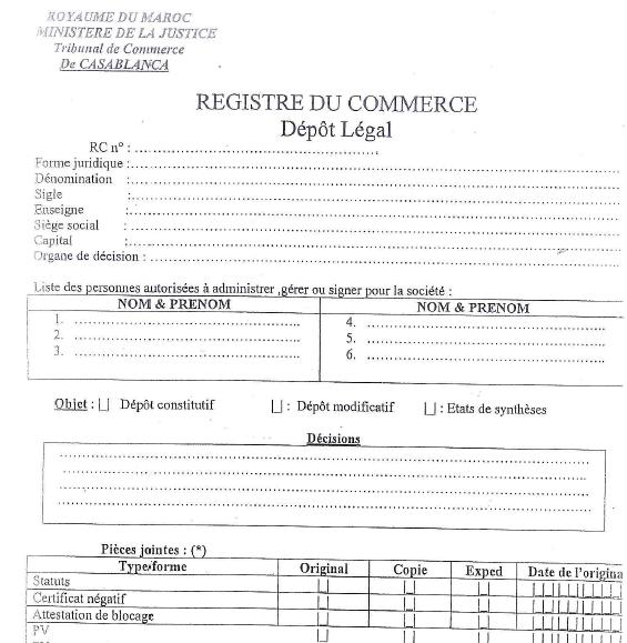 Formulaire dépot legal pdf Maroc