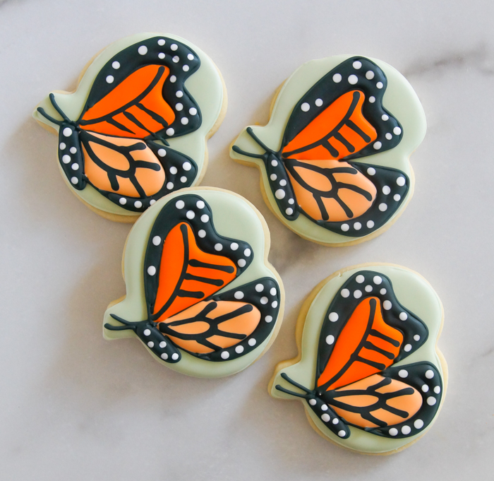how to make Monarch butterfly cookies from a pumpkin cookie cutter
