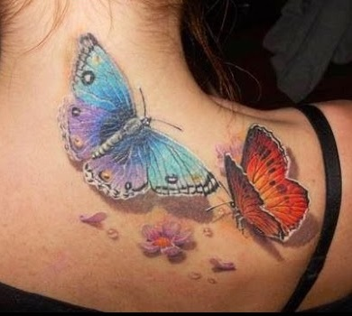 Beautiful 3D flying Butterfly Tattoo design