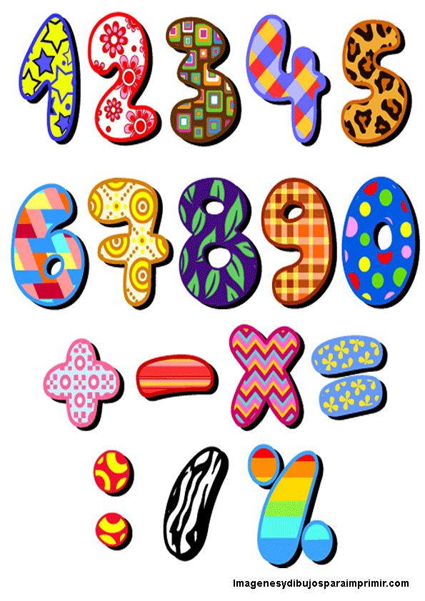 Números con colores para imprimir