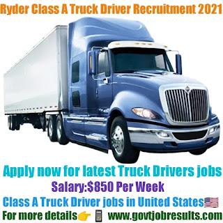 Ryder Class A Truck Driver Recruitment 2021-22