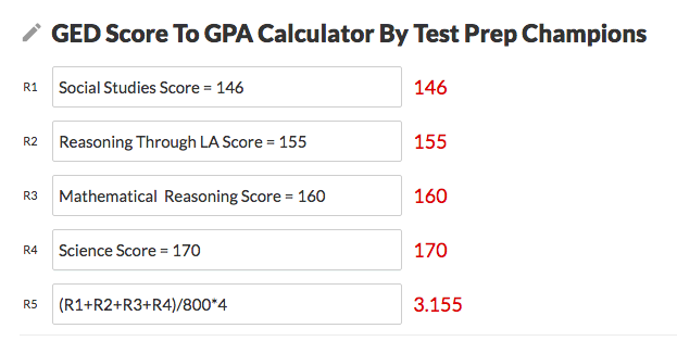 An image of the GED to GPA calculator itself, included as part of the example of how to use it.