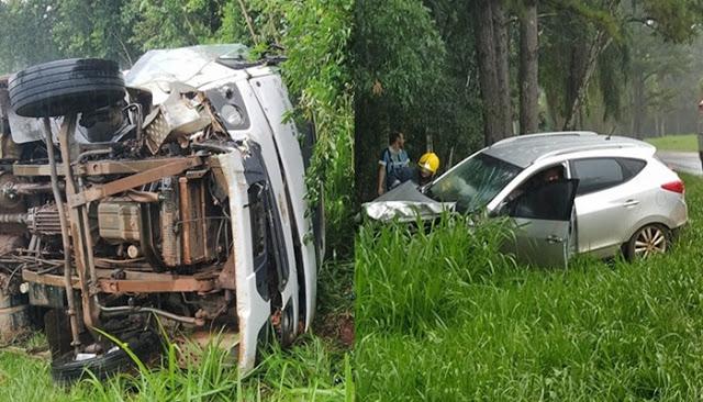 Quedas do Iguaçu: Laranjeirenses sofrem grave acidente na PR-473