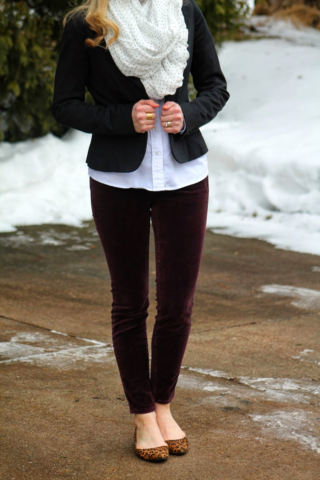 black blazer button up polka dot scarf burgundy pants leopard flats