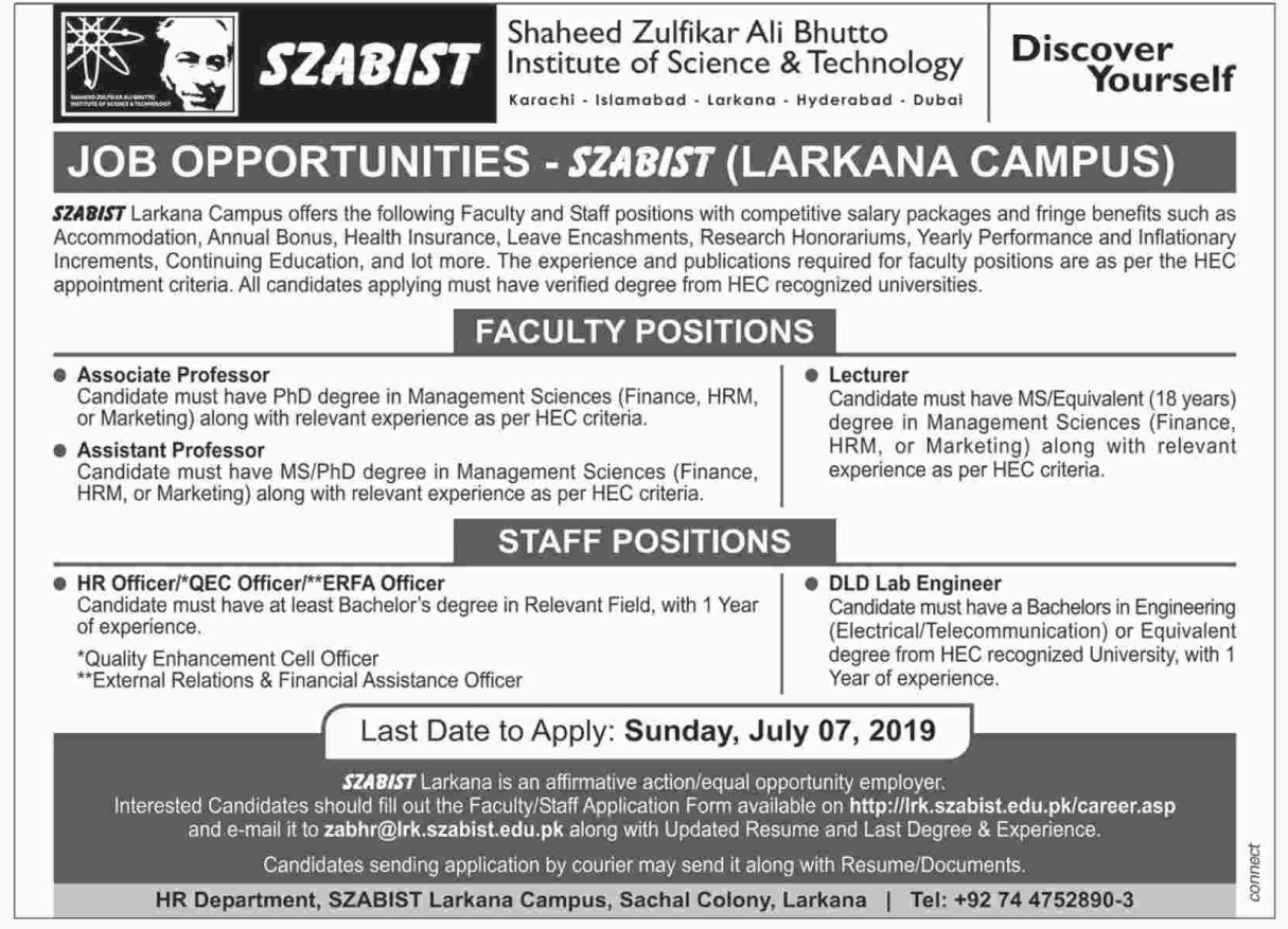 Latest vacant Posts of SZABIST Larkana Campus June 2019 for Teaching Faculty & Admin Staff
