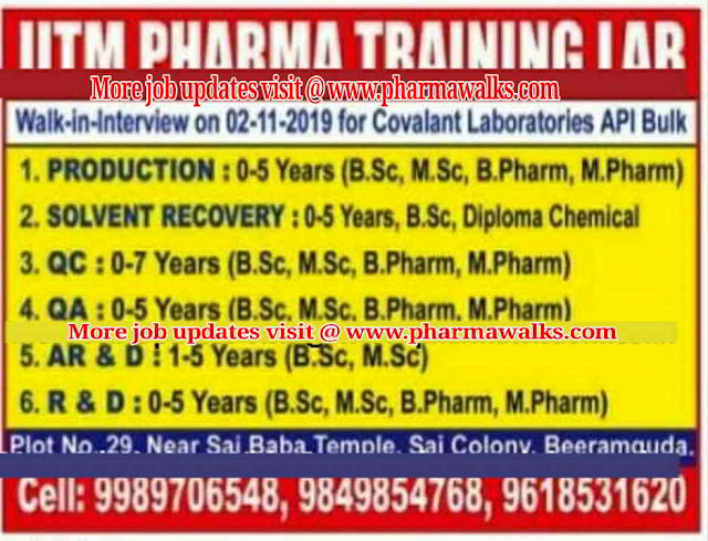 Covalant Laboratories - Walk-in interview for Freshers and Experienced candidates on 2nd November, 2019