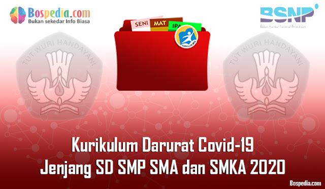 Kurikulum Darurat Covid-19 untuk Jenjang SD SMP SMA dan SMKA 2020