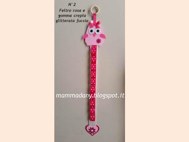 porta cerchietto bambina in feltro rosa e gomma crepla glitterata fucsia n°2