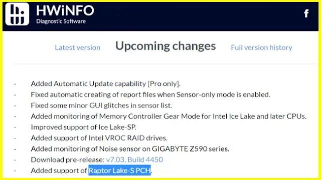 13ms Gen Intel Core Raptor Lake-S featured on HWiNFO