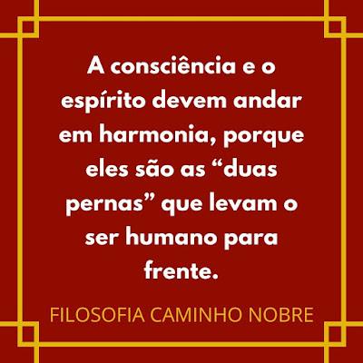 """A consciência e o espírito devem andar em harmonia, porque eles são as """"duas pernas"""" que levam o ser humano para frente. FILOSOFIA CAMINHO NOBRE"""
