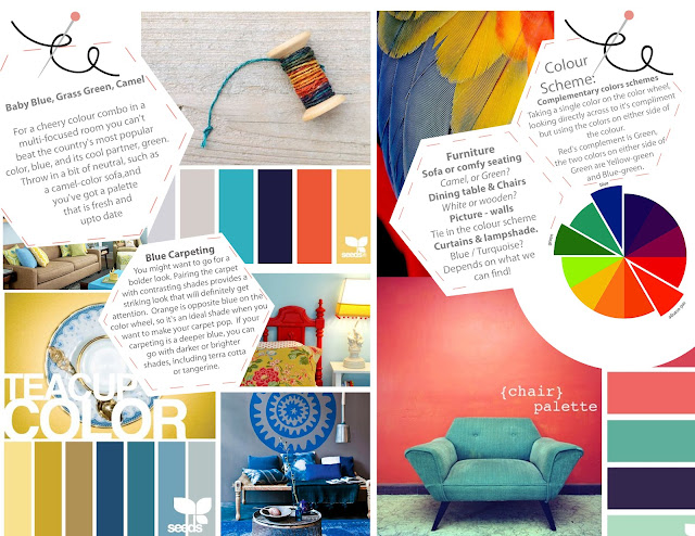 Colour Swatches and Room Plan.  Coral and Navy