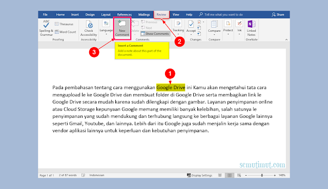 cara membuat comment di word