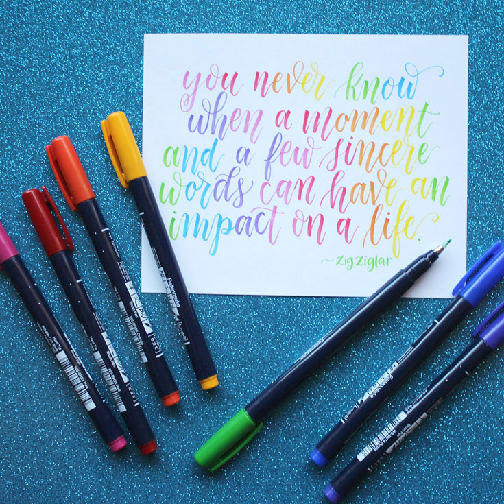 Hand lettering in rainbow colors with Tombow's new fudenosuke colors brush pens.